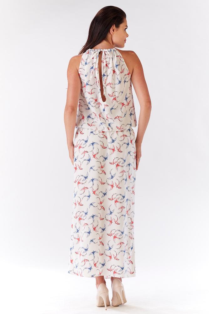 CM3213 Długa sukienka z wiązaniem na plecach - ecru