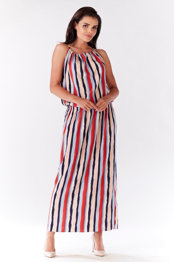 CM3213 Długa sukienka z wiązaniem na plecach - paski