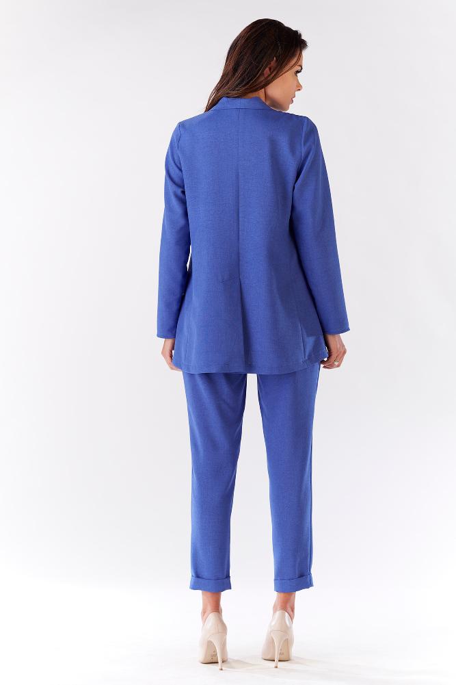 CM3216 Niezapinany żakiet damski z szalowym kołnierzem - niebieski