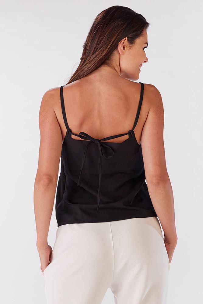 CM3219 Niezwykła bluzka damska z wiązaniem na plecach - czarna