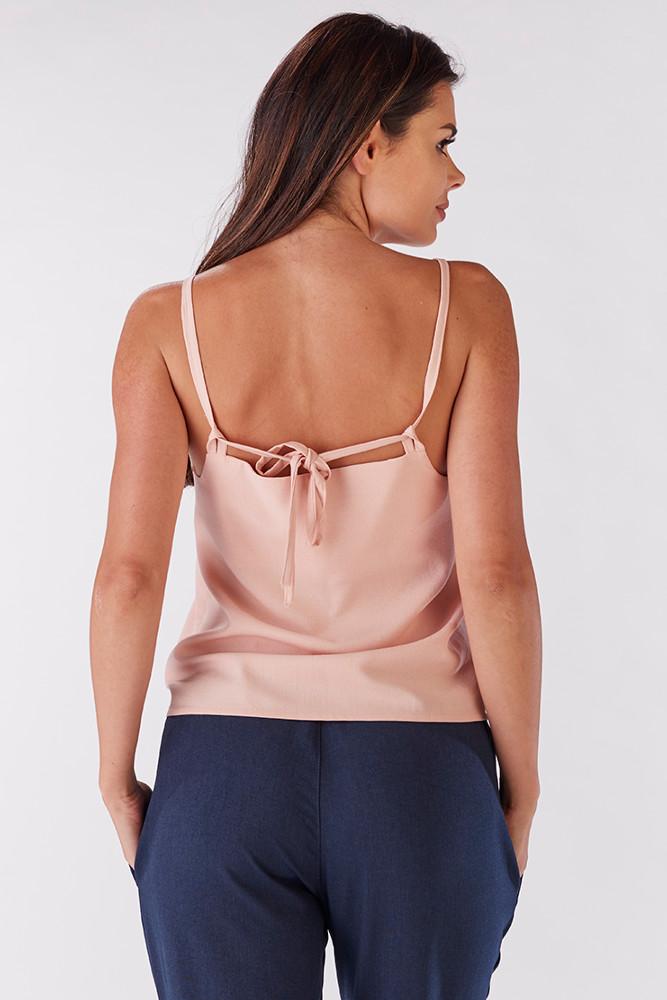 CM3219 Niezwykła bluzka damska z wiązaniem na plecach - jasny różowy
