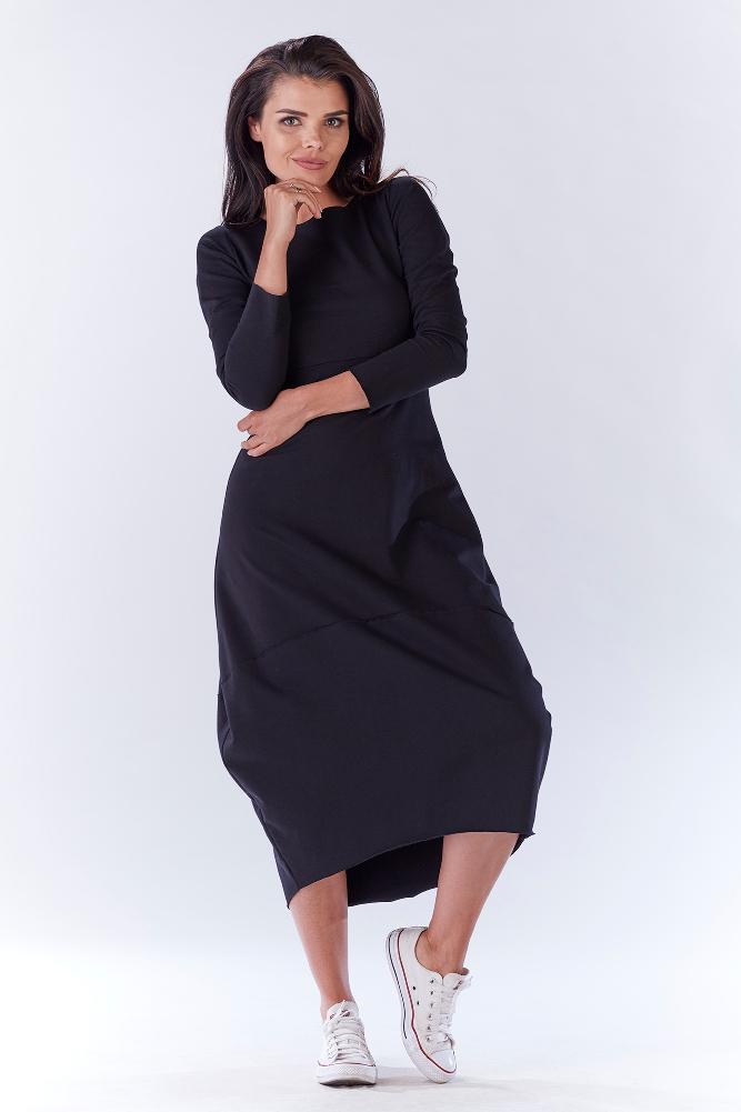 CM3220 Wygodna dresowa sukienka z rękawem 3/4 - czarna