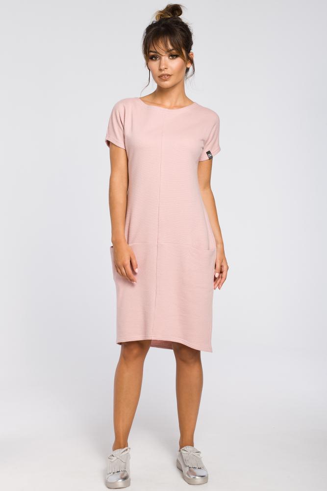 CM3188 Luźna sukienka midi z kieszeniami - pudrowa