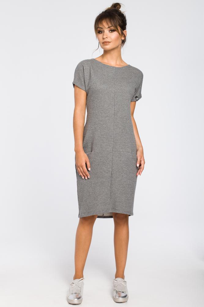 b4e8eca5 Luźna sukienka midi z kieszeniami - szara - Cudmoda