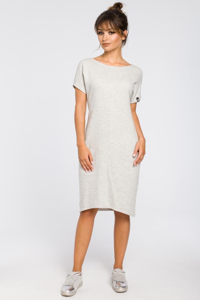 CM3188 Luźna sukienka midi z kieszeniami - popielata