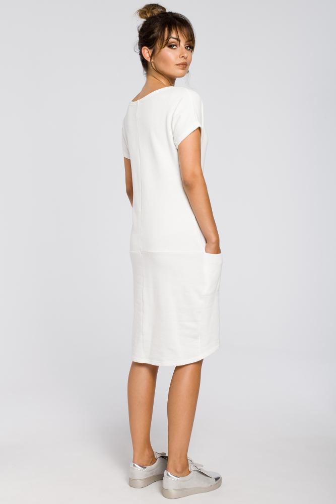 CM3188 Luźna sukienka midi z kieszeniami - ecru