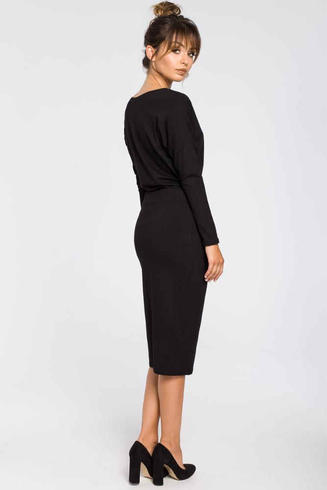 CM3190 Ołówkowa sukienka z gumką w talii - czarna