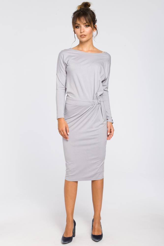 CM3190 Ołówkowa sukienka z gumką w talii - szara