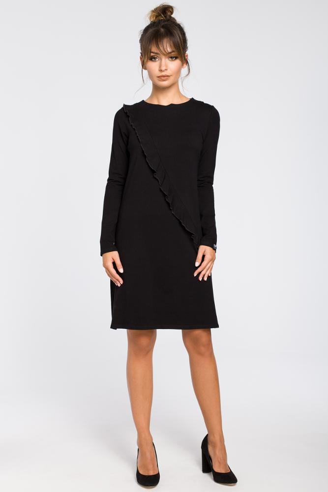 CM3191 Trapezowa sukienka z falbanką - czarna