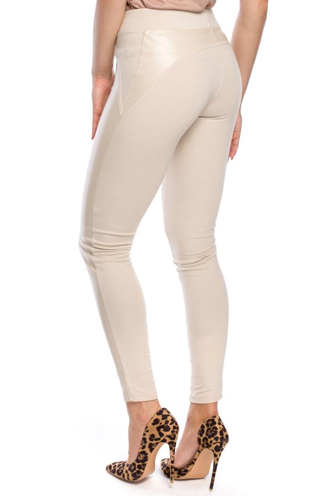 CM3147 Nowoczesne legginsy ze skórzanymi wstawkami - ecru