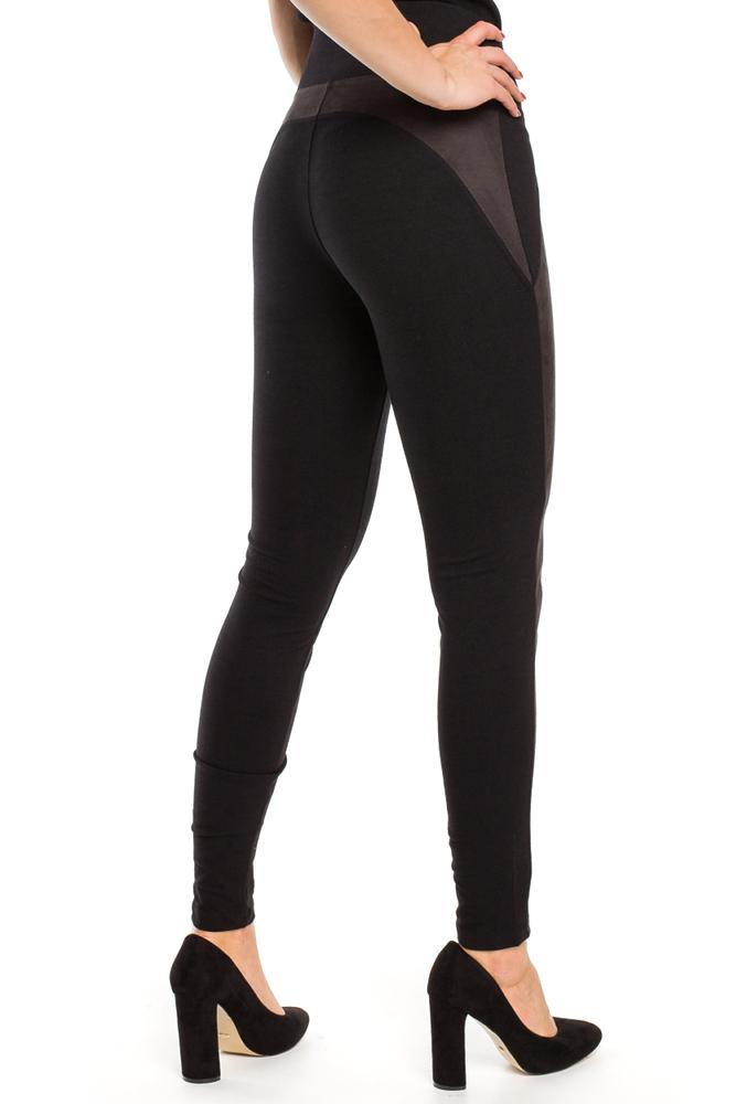 CM3150 Legginsy damskie z zamszowymi wstawkami - czarne