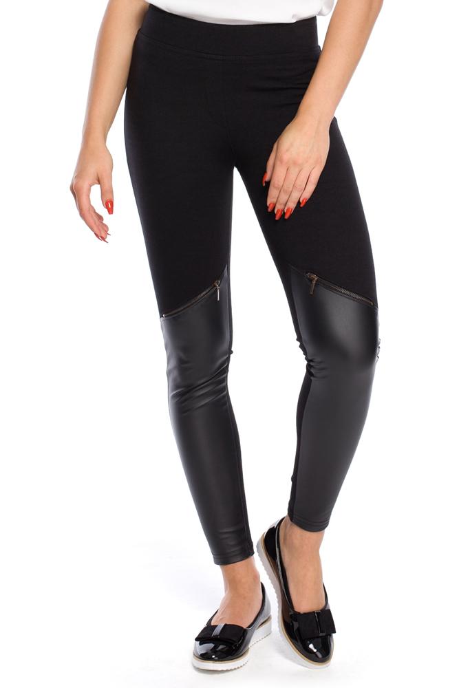 CM3151 Unikalne legginsy ze skórzanymi wstawkami na wysokości piszczeli