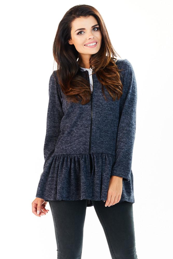 CM3222 Zasuwany sweter damski z baskinką - granatowy
