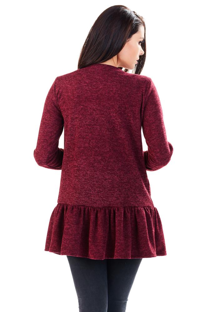 CM3222 Zasuwany sweter damski z baskinką - bordowy