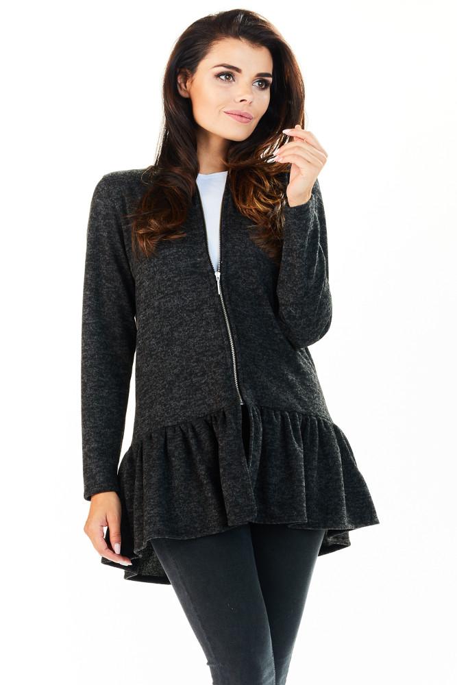 CM3222 Zasuwany sweter damski z baskinką - grafitowy