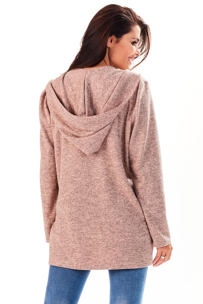 CM3225 Niezapinany kobiecy sweter z kapturem - różowy