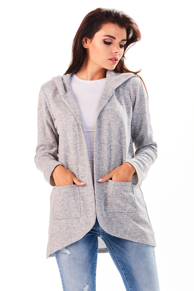 CM3225 Niezapinany kobiecy sweter z kapturem - szary