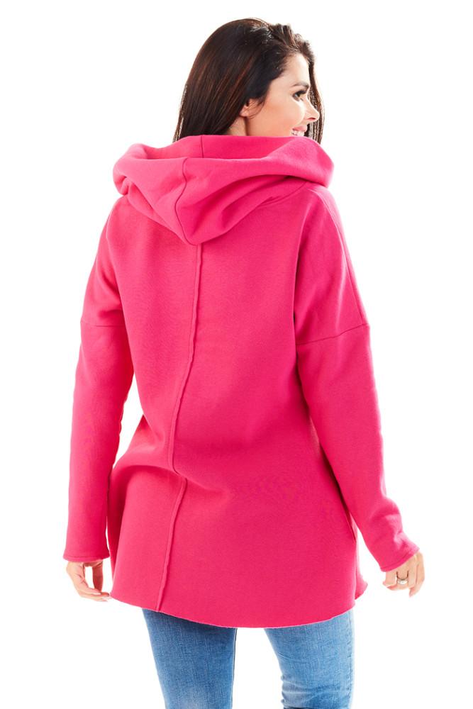CM3229 Bawełniana bluza damska z obszernym kapturem - różowa