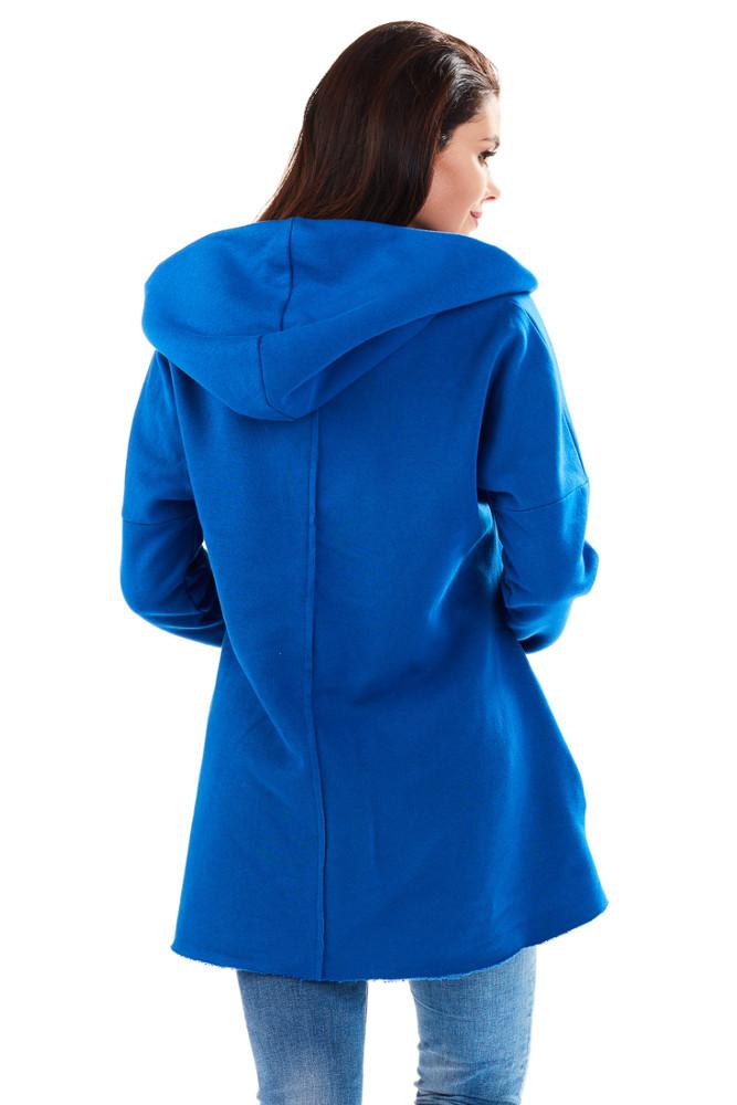 CM3229 Bawełniana bluza damska z obszernym kapturem - niebieska