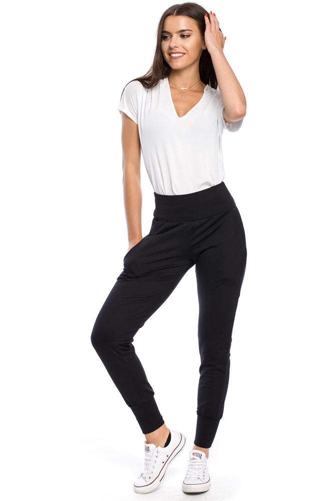 CM1699 Sportowe spodnie damskie ze ściągaczem - czarne