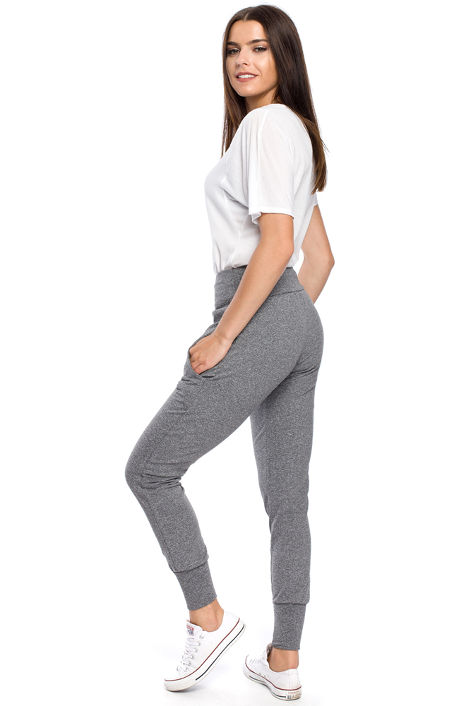 CM1699 Sportowe spodnie damskie ze ściągaczem - szare