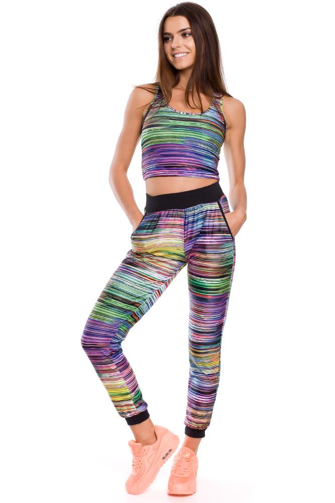 CM3248 Kolorowe spodnie damskie ze ściągaczem