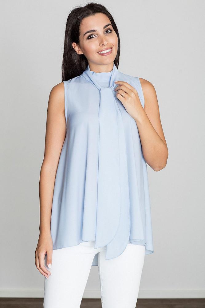 CM3231 Letnia zwiewna bluzka bez rękawów - niebieska