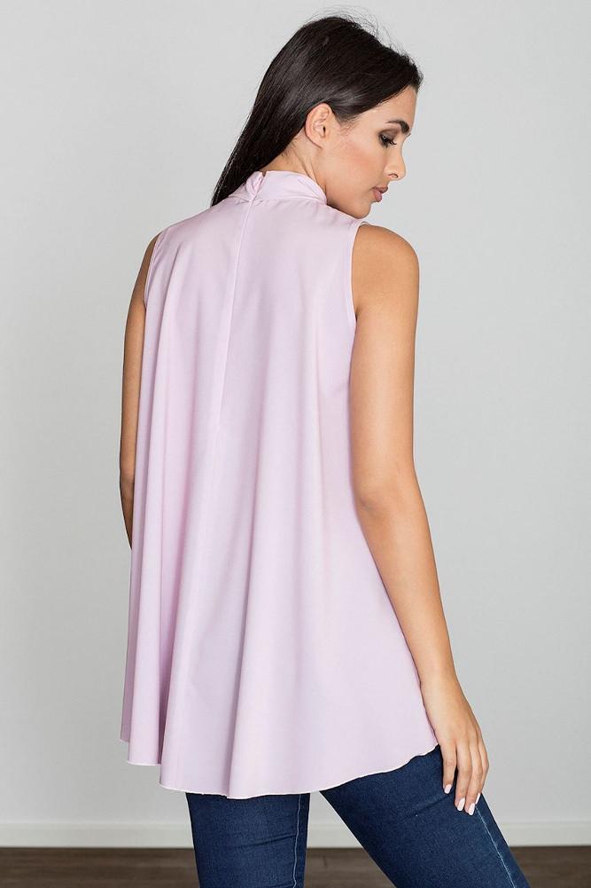 CM3231 Letnia zwiewna bluzka bez rękawów - różowa