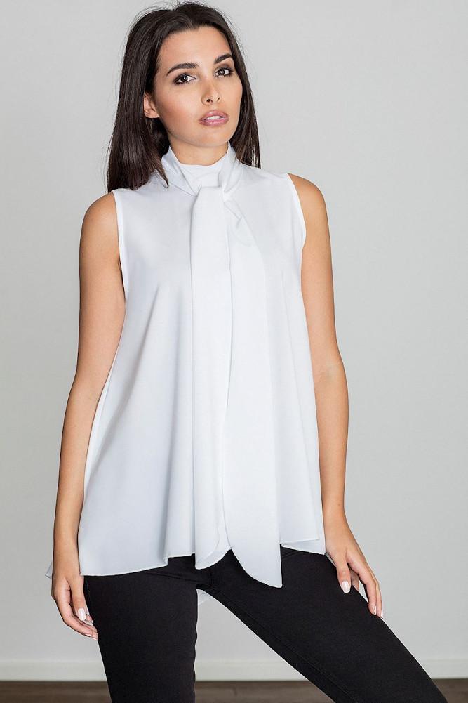 CM3231 Letnia zwiewna bluzka bez rękawów - biała