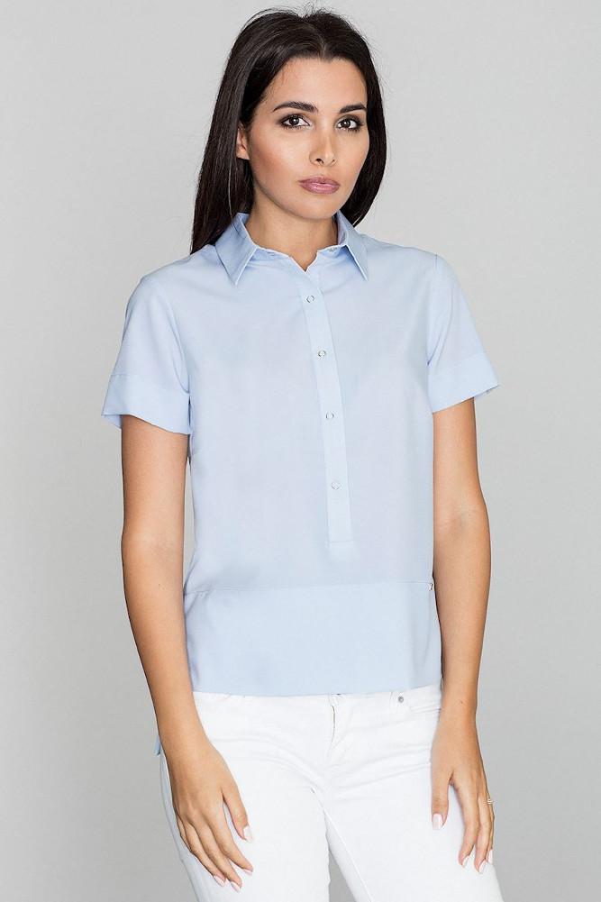 CM3232 Bluzka koszulowa z kołnierzykiem typu polo - niebieska