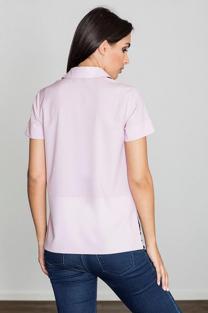 CM3232 Bluzka koszulowa z kołnierzykiem typu polo - różowa