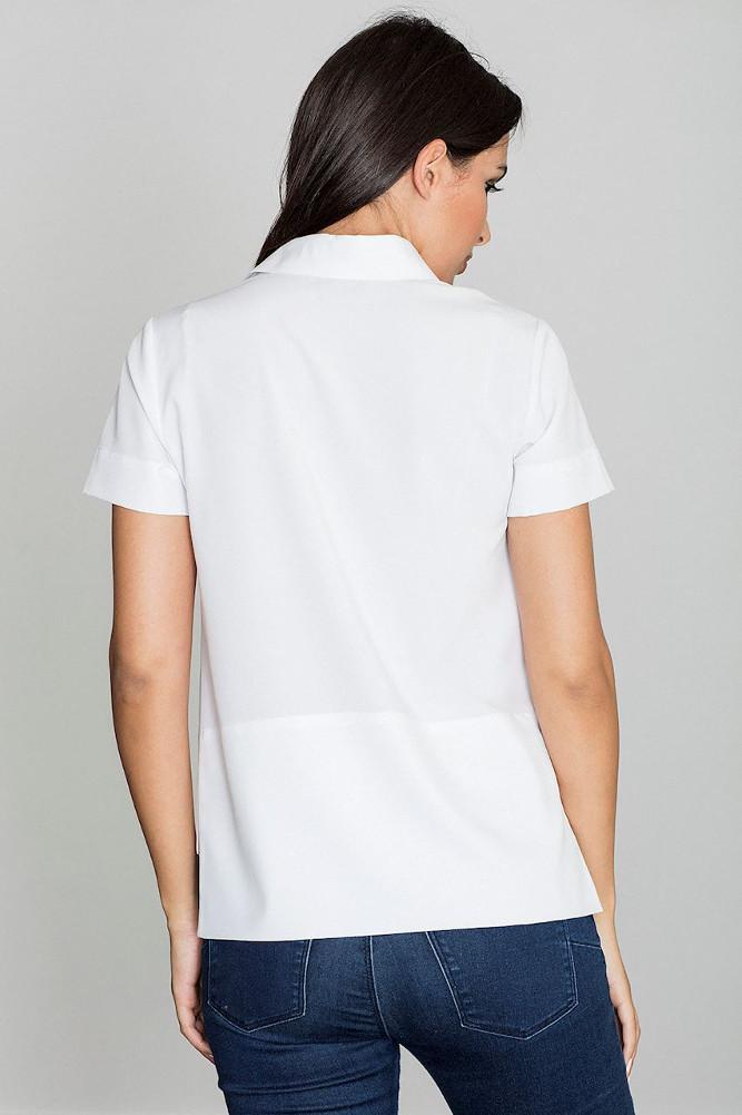 CM3232 Bluzka koszulowa z kołnierzykiem typu polo - biała