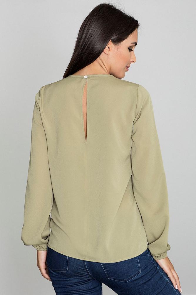 CM3233 Damska bluzka z długim rękawem - oliwkowa
