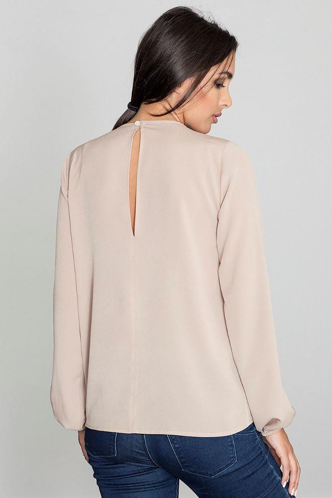 CM3233 Damska bluzka z długim rękawem - beżowa