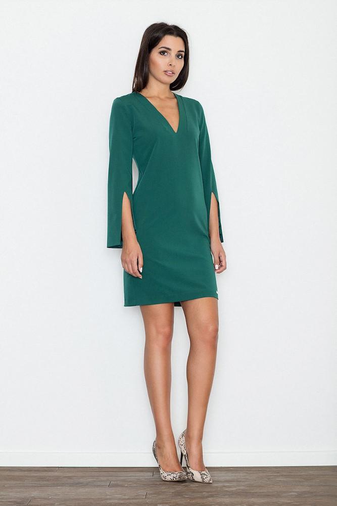 CM3234 Elegancka sukienka z rozciętymi rękawami - zielona
