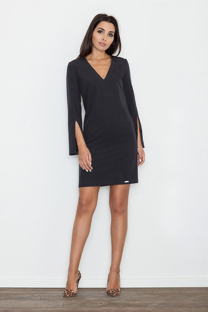 CM3234 Elegancka sukienka z rozciętymi rękawami - czarna