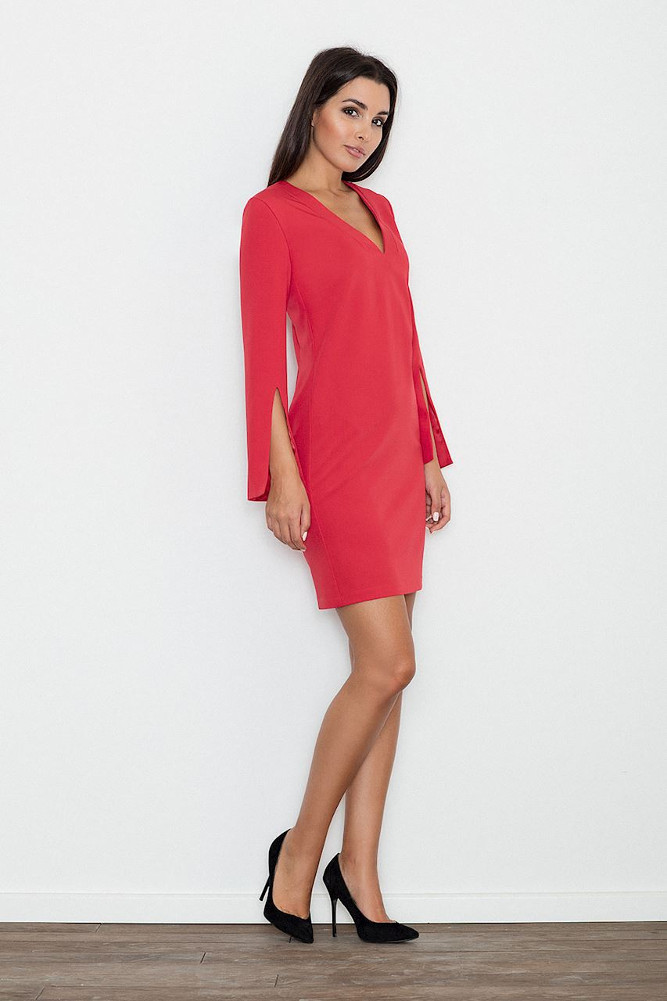 CM3234 Elegancka sukienka z rozciętymi rękawami - czerwona