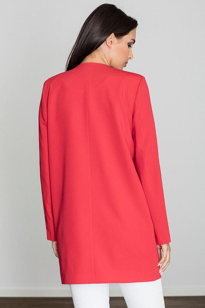 CM3235 Długi prosty niezapinany płaszcz - czerwony