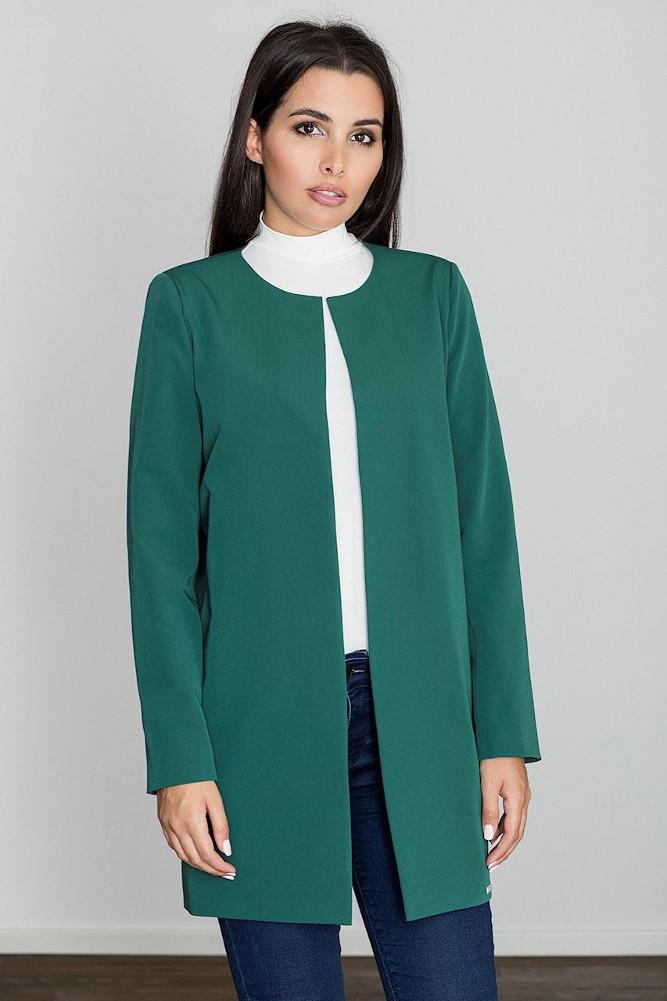CM3235 Długi prosty niezapinany płaszcz - zielony