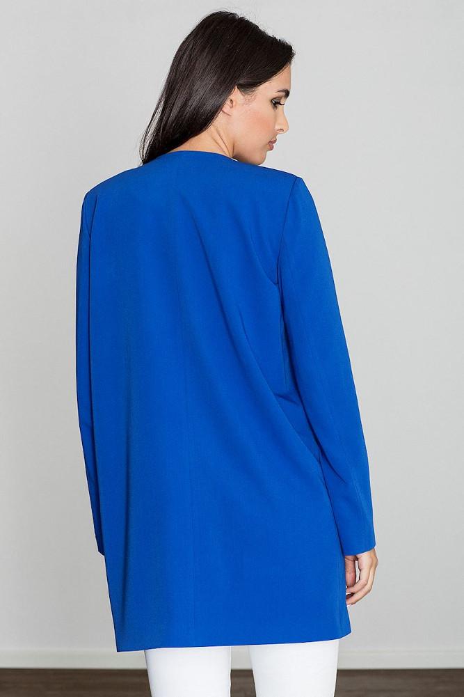 CM3235 Długi prosty niezapinany płaszcz - niebieski