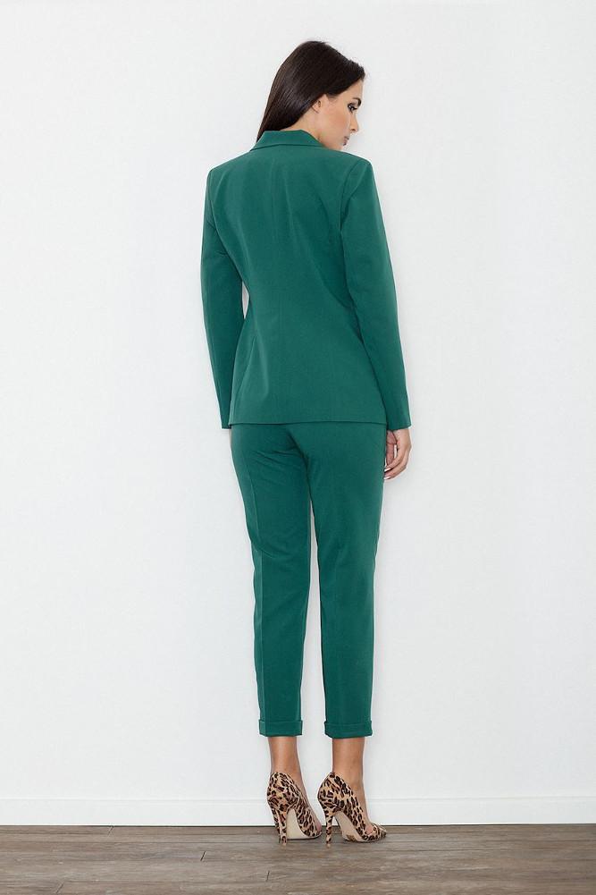 CM3236 Klasyczne spodnie damskie z mankietem - zielone