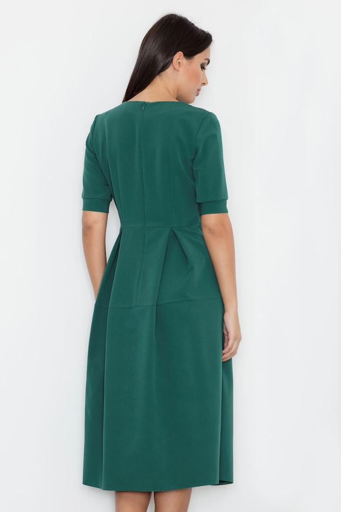 CM3237 Odcinana sukienka midi w kontrafałdy - zielona