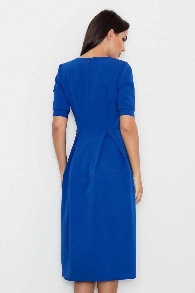 CM3237 Odcinana sukienka midi w kontrafałdy - niebieska