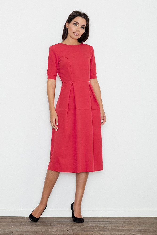 CM3237 Odcinana sukienka midi w kontrafałdy - czerwona