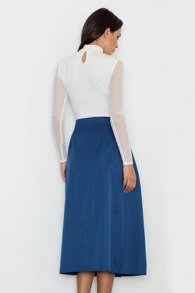 CM3238 Trapezowa spódnica midi z zakładkami - niebieska