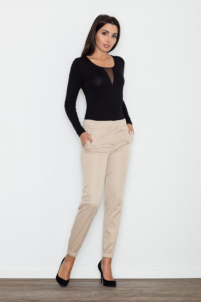 CM3239 Eleganckie kobiece spodnie wizytowe - beżowe