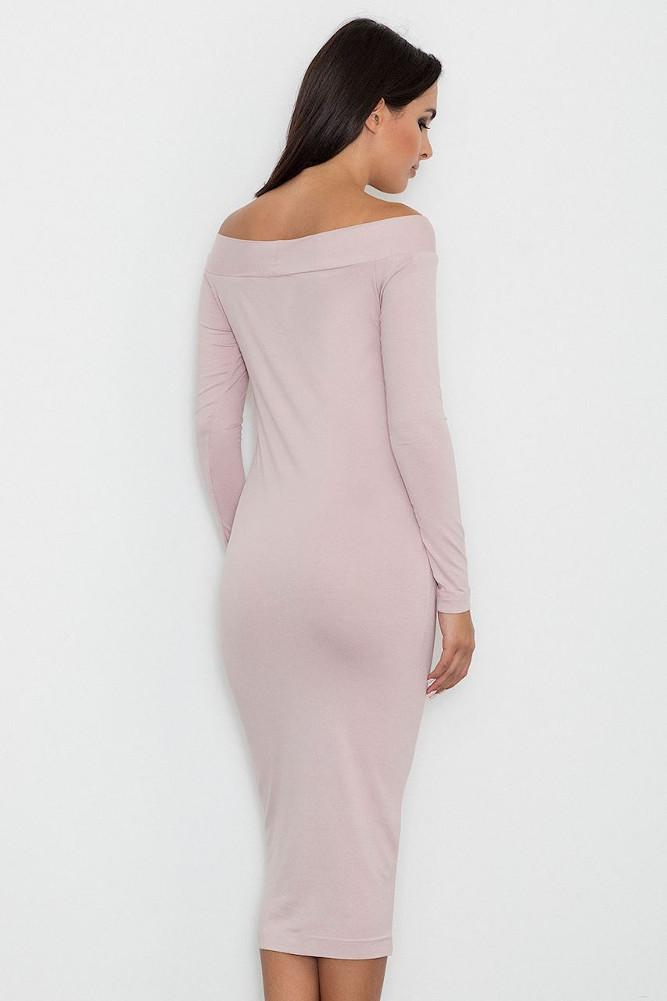 CM3255 Dopasowana biurowa sukienka - różowa