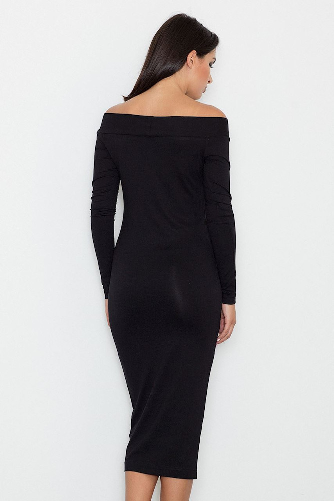 CM3255 Dopasowana biurowa sukienka - czarna