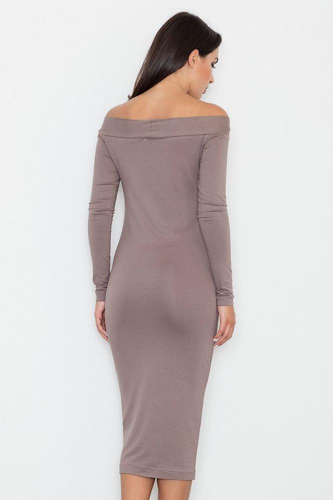 CM3255 Dopasowana biurowa sukienka - brązowa