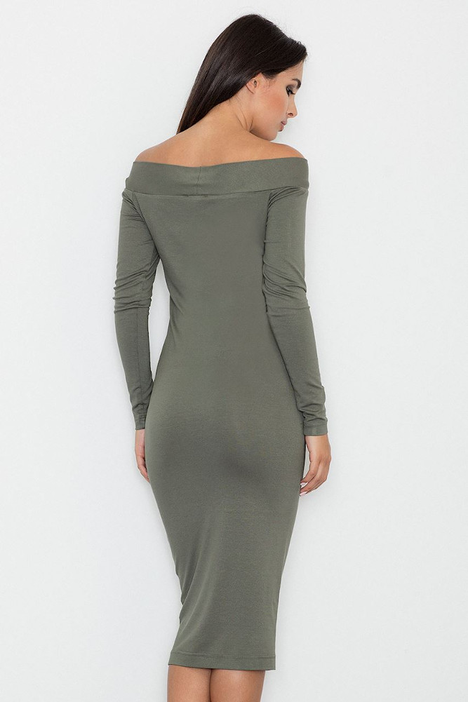 CM3255 Dopasowana biurowa sukienka - oliwkowa